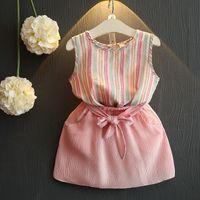 Wholesale Bowknot Belt Skirt - Sweet Girls Sets New 2017 Summer Princess Clothing Set Sleeveless Striped Tank Tops + Bowknot Belt Skirts 2pcs Set Suits Outfits A6886
