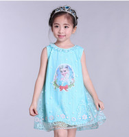 Wholesale Romantic England - 2017 Summer frozen Romantic Girl Short Sleeve Dress Children's Day costumes Mesh embroidery sleeveless vest skirt L168