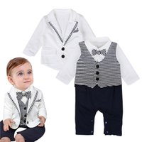 Wholesale Down Coat Europe - New 2017 Europe Baby Boys Clothing Sets Toddler Gentleman Boy Outfits Set Autumn Coat Tops + Bow Striped Rompers 2pcs Set Suits White A7243