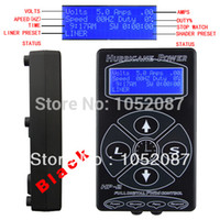 Wholesale Dual Lcd Tattoo - Wholesale-2014 Hot Selling Black HP2 Hurricane Tattoo Power Digital Dual LCD Display Tattoo Power Supply Free Shipping