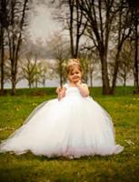 Wholesale Cheap Tutus For Little Girls - White Ball Gown Cheap Flower Girl's Dresses For wedding Little Kids Floor Length Cute Little girls Tutu pageant Gowns for Communion Dress