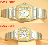 Wholesale Womens Watches Dress Style - NEW Fashion brand luxury Lovers Watches two tone 100 XL Romans Ladies watch high quality quartz Style stainless steel Men's womens watches