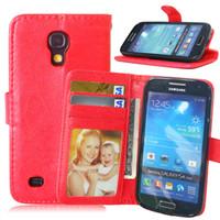 Wholesale Galaxy S4 Mini Flip Covers - Flip Case for Samsung Galaxy S4 mini S 4 i9195 i9190 i9192 Leather Cover for Samsung S4mini 4mini GT-i9195 GT-i9190 GT-i9192 Bag