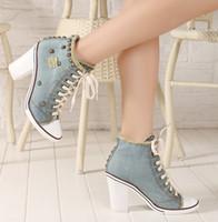 Wholesale denim pumps high heel shoes - wholesale women shoes chunky heel denim canvas shoes high top rivets sneakers lace up pumps students shoes