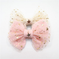 Wholesale Star Sweet Light - 10pcs lot Fairy Baby Hair Bow Clip Gold Copper Star Pendant Light Cream Pink Glitter Star Tulle Bow Knot Barrette Sweet Hairpin