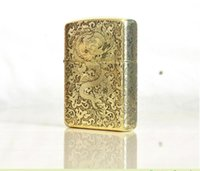 Wholesale Dragon Lighters - Wholesale- Free shipping windproof lighters Pure copper carved armor surround etching ryukyu YunLongWen dragon flying