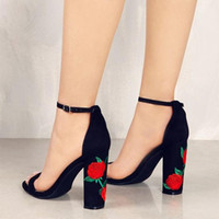 Wholesale Ethnic Crosses - 2017 NEW Fashion Faux Suede Women Sandals Embroider High Heel Women Sandals Ethnic Floral Party Shoes Plus Size Flower Embroider