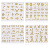 Wholesale Nails Sheet - 3d Gold Nail Art Stickers Decals 1 sheet Flowers Bowkbot Crown Star Design Metallic Adhesive Nail Foils Tips Decoration DIY Nail Supplies