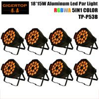 Wholesale Paint Light Bulb - Wholesales 8XLOT LED Stage Light, Aluminum Par 15W 18pcs RGBWA 5IN1 Color Brightness by DMX 512 Control Black Painting OEM LOGO TP-P53B