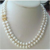 WHOLESA 2 ROW 8-9MM COLLIER DE PERLES BLANC AKOYA 18'19 '14K SOLIDE