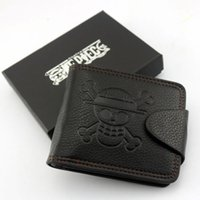 Wholesale One Piece Gift Box - One Piece black PU leather wallet luffy strawhat logo with box gift NEW dual-fold cosplay fans