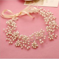 Wholesale Vintage Tiara Bridal Headpieces Headdress Handmade Head Jewelry Decoration Pearl Flower Wedding Hair Piece For Bride Wedding
