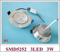 Wholesale Installing Led Recessed Lighting - recessed install LED ceiling spot light down lamp downlight 3W new design 2017 SMD5252 110lm W AC85-265V input aluminum
