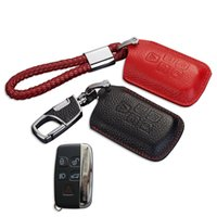 Wholesale Key Fob Leather - Leather Key Fob Cover Holder for Jaguar XF XJ 2014 XE 2015 F Pace Type 2016 Key Case Wallet Keychain for Jaguar Accessories