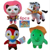 Grossiste-4pcs / lot Movie Sheriff Callie's Wild West Plush Poupée Jouets Cowboy Callie Chat / Cheval / Pic / Cactus Tree Soft Cadeaux Rembourré Cadeaux