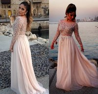 Wholesale Spark Power - 2017 Long Prom Dresses Elie Saab Sparking Crystal Beading Sheer Modest With Long Sleeve Evening Gowns Prom Dresses Party dress