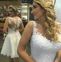 Wholesale Bling Bridal Dresses Sale - Hot Sale Bling Bling See Through Short 2017 Wedding Dress New Beads Crystal Handmade Appliques Custom Size Lace Bridal Gown Fashion Charming