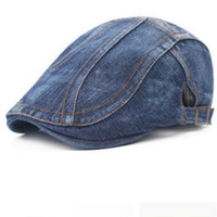 Wholesale Blue Beret For Men - New Fashion Summer Denim Berets Cap for Men Women Washed Denim Hat Unisex Jeans Hats 6pcs lot