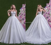 Wholesale Strapless Sweetheart Empire Ball Gown - princess ball gown wedding dresses 2018 amelia sposa bridal strapless semi sweetheart neckline heavily embellished bodice chapel train