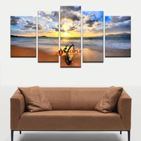 Wholesale sunset sea - Free Shipping 5 Pcs Hot Sell The Family Decorates Sunset Sea View Print On The Canvas Decoration Pieces For Living Room Canvas Picture