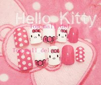 Wholesale Wholesale 3d False Nails - Wholesale- New 24 pieces Sweet Hello Kitty 3D DIY Fasion Cute Style Plastic Art Fake false Sticker Nail Tips With Glue Gel [N3022]