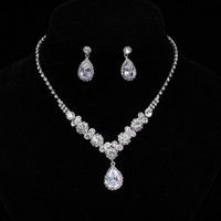 Wholesale simple bridal jewelry sets for sale - Group buy Simple Crystal Bridal Jewelry Sets Silver Color Rhinestone Water drop Earrings Necklace Sets for Women Wedding Jewelry