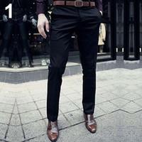 pantalones planos al por mayor-Pantalones de vestir de los pantalones de los pantalones del frente del color sólido de la manera de los hombres al por mayor adelgazan casuales