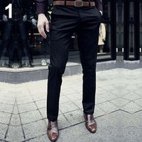 Wholesale Flat Front Pants - Wholesale- Men's Fashion Casual Slim Fit Solid Color Flat Front Slacks Trousers Dress Pants