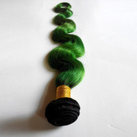 Wholesale new star brazilian hair - Tone Ombre Weaves Peruvian Body Wave Human Hair Weft New Star T Color Hair Extensions 1B green 3 Bundles No Shedding No Tangle