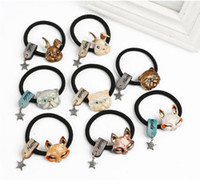 Wholesale Vintage Style Hair - Metal Rabbit and cat Hair Ties Hair bands hair accessory ponytail holder for kid girls woman vintage style Easter Rabbit