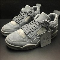 Wholesale Cooling Table - 2017 Air 4 Retro XX Kaws Basketball Shoes Cool Grey White Glow In The Dark With Original Box Blue Black Sneakers For Mens