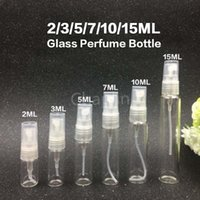 Wholesale Glass Cosmetics 15ml - 2 3 5 7 10 15ML Mini Clear Glass Refillable Perfume Pump Spray Bottle Atomizer Empty Cosmetic Sample Gift Container