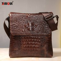 Wholesale Leather Handbag For Tablet - Wholesale- First Layer Cow Skin 100% Genuine Leather Bag For Men Crocodile Style Men's Business Messenge Bag Tablet PC handbag