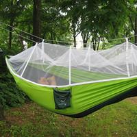 hamacas de tela al por mayor-Al por mayor-Multi-color Hamaca Viajes Camping Persona individual Hamaca Tela de paracaídas portátil Mosquito Net Hamaca para uso en interiores al aire libre