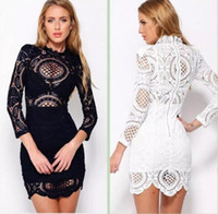 Wholesale Dress Slim Flower - Women Bodycon Dress 2017 new Love and Lemons Club Party Dress Lace Hook flowers Slim Long Sleeve Pencil Mini Dress