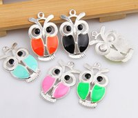 Wholesale Owl Bead Enamel - Mixed Vintage Silver Enamel Small Owl Charms Pendants For Jewelry Making Findings Bracelets Accessories DIY Gifts 20PCS Z2798