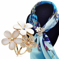 Wholesale Wholesale Scarf Pins Ring - Wholesale- CX-SHINY Women Jewelry Hand painting Flower Gold Silver plated Imitation Brooch pins Shawl Scarves Scarf buckle ring clips