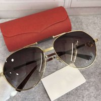 Wholesale plastic aviator glasses - MENS LEATHER PLASTIC AVIATOR SUNGLASSES Sonnenbrille Gold Brown Gradient Lens Shaded Brand Fashion Sunglass New with Box
