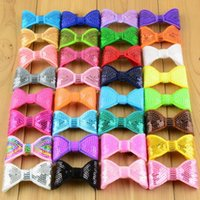 Wholesale Hair Bronze Diy - 32color classic beads bow sequins bow tie child hair accessories wholesale DIY accessories Computer embroidery 2inch S004
