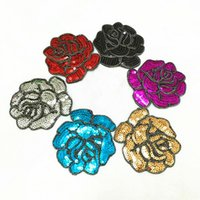 Wholesale Wholesale Jean Patches - Sale Rose Flowers Patch With Sequins 10.5*10.5cm Embroidered Motif Applique Iron On Sticker Patches For Clothing Jacket Jean
