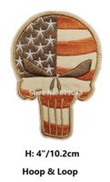 Wholesale Badge Army - VINTAGE PUNISHER SKULL USA WAVING FLAG MILSPEC US ARMY MORALE ISAF PATCHES Hook & Loop Patch tv moive series badge for clothing