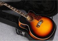 Wholesale Single Cutaway Guitar - Top quality J200 single cut acoustic electric guitar sunburst electric acoustic single cutaway free shipping