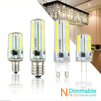 Wholesale Chandeliers Led Dimmable - Led Light G9 G4 Led Bulb E11 E12 14 E17 G8 Dimmable Lamps 110V 220V Spotlight Bulbs 3014 SMD 64 152 Leds light Sillcone Body for chandeliers