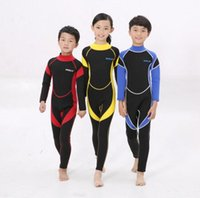 Wholesale Wetsuit Warmer - 2.5MM Warm Neoprene Wetsuits Kids Swimwears Diving Suits Long Sleeves wetsuit Boys Girls Surfing Rash Guards One Pieces DCO
