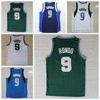 Wholesale Basketball Jersey Material - Discount 9 Rajon Rondo Jersey Sports Shirt Men Navy Blue Green White Throwback Rajon Rondo Basketball Jerseys Uniforms Rev 30 New Material