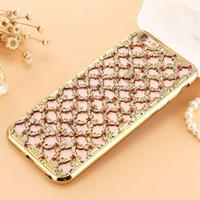 Wholesale Diamond Galaxy Case - New Luxury 3D Hollow Diamond Grid Style Rhinestone Fundas Capa Soft TPU Phone Cases Cover For Samsung Galaxy S6 S7 Iphone 6 7