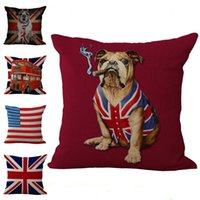 Wholesale Sofa Dogs - National Flag Old Glory Union Jack Dog Pillow Case Cushion cover Linen Cotton Throw Pillowcases sofa Bed Pillow covers Drop shipping PW376