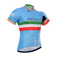 Wholesale Tour France Tops - New 2017 astana Tour de france cycling jersey summer Ropa Ciclismo quick dry pro cycling Clothing mens short sleeve bicycle Maillot B2513