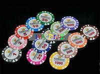 argile de jetons de poker achat en gros de-10pcs / Set de haute qualité Couronne Clay Texas Hold'em puces de poker classique 14g Clay Iron ABS jetons de casino IVU