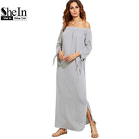 Wholesale SheIn Long Shift T shirt Dresses For Ladies Summer Heather Grey Off The Shoulder Tie Long Sleeve Slit Maxi Dress